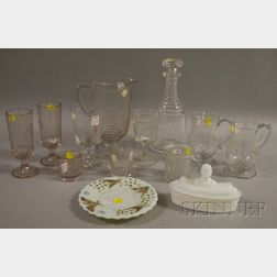Eleven Pieces of Commemorative Colorless Pressed Pattern and Etched Blown Glass, and Two Pieces of Pressed Milk Glass.