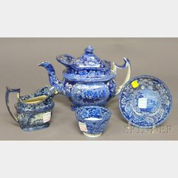 Four Pieces of English Blue and White Transfer-decorated Staffordshire Teaware