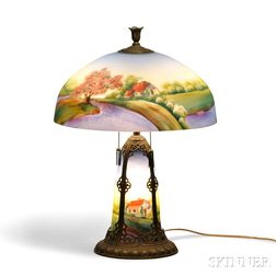 Reverse-painted Glass Table Lamp in the Manner of Pittsburgh