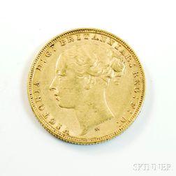 1880 British Gold Sovereign.     Estimate $200-300