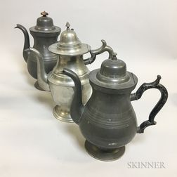 Three Signed Pewter Teapots