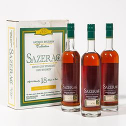 Buffalo Trace Antique Collection Sazerac Rye 18 Years Old, 3 750ml bottles (oc)