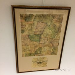 Framed Hand-colored Smith's Map of Hartford County Connecticut