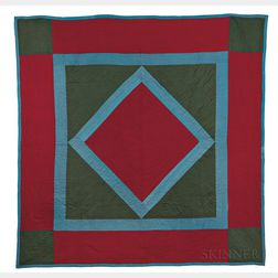 Wool Diamond and Square Amish Quilt