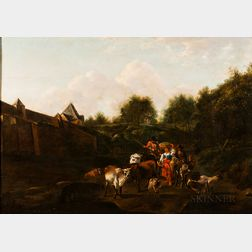 Dutch School, 18th Century      Heading to Market, Peasants and Livestock Outside a Walled Town