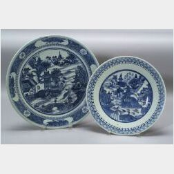 Two Large Round Nanking Chinese Export Porcelain Plates