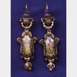 Antique Porcelain and Diamond Earpendants