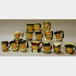 Fifteen Miniature Royal Doulton Character Jugs