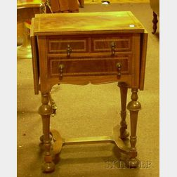 William & Mary Style Inlaid Mahogany Veneer Drop-leaf Three-Drawer Table.
