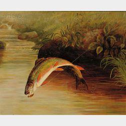 Samuel A. Kilbourne (American, 1836-1881)      Rainbow Trout Taking a Fly