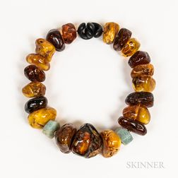 Large Amber, Resin, and Hardstone Necklace