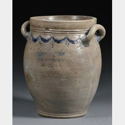 """""""COMMERAWS STONEWARE"""" Crock with Incised Cobalt Decoration"""