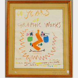 Pablo Picasso 60 Years Of Graphic Works   Lithograph Exhibition Poster