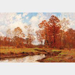 William Merritt Post (American, 1856-1935)    Meandering Stream in Autumn