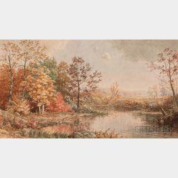 Jasper Francis Cropsey (American, 1823-1900)      Lake View in Fall