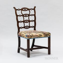 Chinese Export Chippendale Carved Hardwood Side Chair