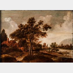 Attributed to Adriaen de Vries (Dutch, 1550-1626)      Figures and Building by a Quiet River