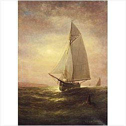 Wesley Weber (American, 1839/41-1914)  Sunset/A Sailing Vessel at Sea