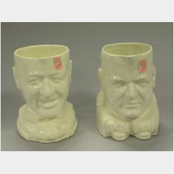 American New York City Mayor Al Smith and President Herbert Hoover Ceramic Toby Jugs.