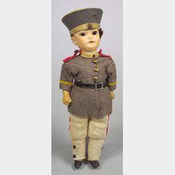 Small SHPB Oriental Bisque Head Soldier Doll