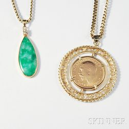 Two 14kt Gold Pendants and Chains