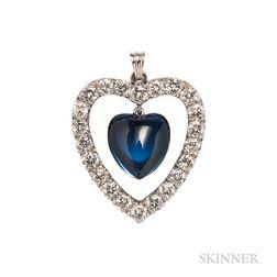 Platinum, Sapphire, and Diamond Heart Pendant