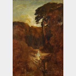 French School, 19th/20th Century      Figure in a Landscape