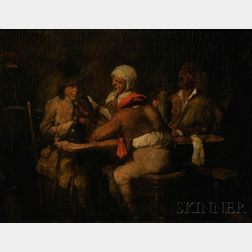 Manner of Adriaen Brouwer (Flemish, 1606-1638)      Figures at a Tavern Table