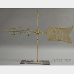 White-painted Wrought and Cut Sheet Iron Arrow and Banner Weather Vane