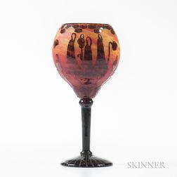 Le Verre Francais Cameo Glass Chalice
