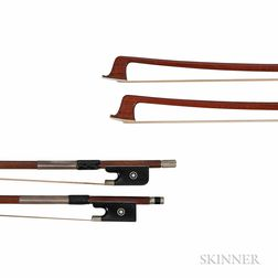 Two Nickel-mounted Three-quarter Size Violin Bows