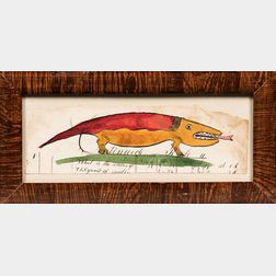 Red and Yellow Lizard Watercolor