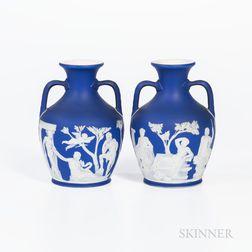 Pair of Wedgwood Dark Blue Jasper Dip Portland Vases