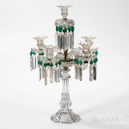 Six-light Colorless and Green Glass Girandole or Candelabra