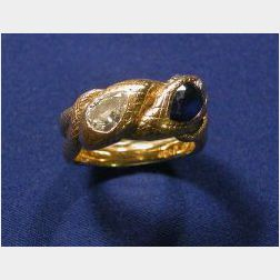 18kt Gold, Sapphire and Diamond Bypass Ring