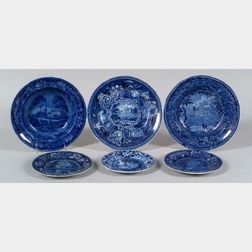 Six Assorted Blue and White Transfer Printed Staffordshire Pottery Plates