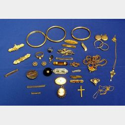 Group of Thirty-six Victorian Jewelry Items