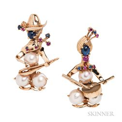 Two 14kt Gold, Mabe Pearl, and Colored Stone Musician Brooches