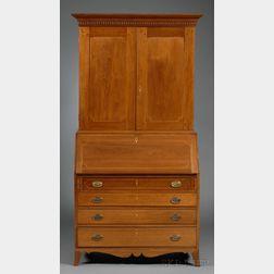 Federal Inlaid Walnut Desk/Bookcase