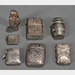 Six Silver and Silver Plate Matchsafes and a Lighter