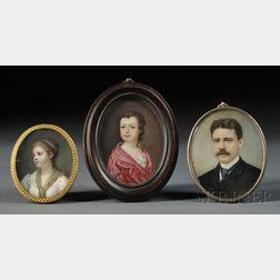 Three Oval Format Portrait Miniatures