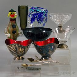 Twelve Assorted Glass and Metal Decorative Household Items