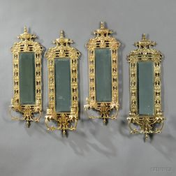 Four Bronze Two-light Wall Sconces with Mirrored Backs
