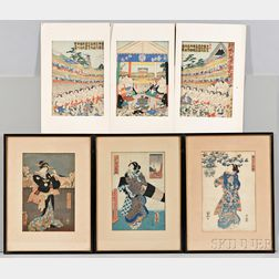 Three Woodblock Prints and a Triptych