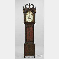 Moses Stiles Grain-painted Elm Tall Clock No. 88