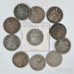 Eleven Seated Liberty Half Dollars