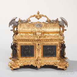 Prosper Roussel Patinated and Gilt-bronze Jewel Casket