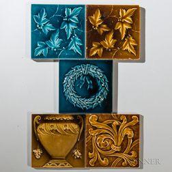 Five Kensington Art Tile Co. Art Pottery Tiles