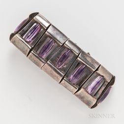 Antonio Pineda Mexican Silver and Amethyst Bracelet