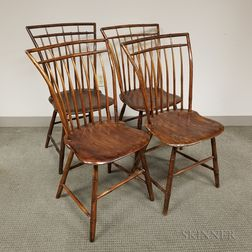 Set of Four Birdcage Windsor Side Chairs